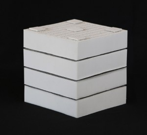 Honeycomb ceramic media for RTOs